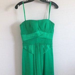 Strapless BCBG green prom dress